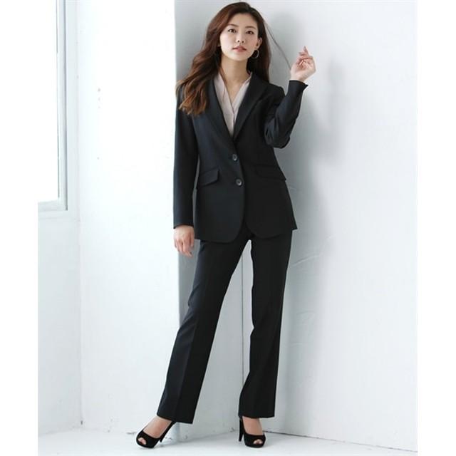 ゆったりバスト 洗えるタテヨコストレッチロング丈パンツスーツ(ジャケット+ストレートパンツ)【レディーススーツ】 (大きいサイズレディース)スーツ,women's suits ,plus size