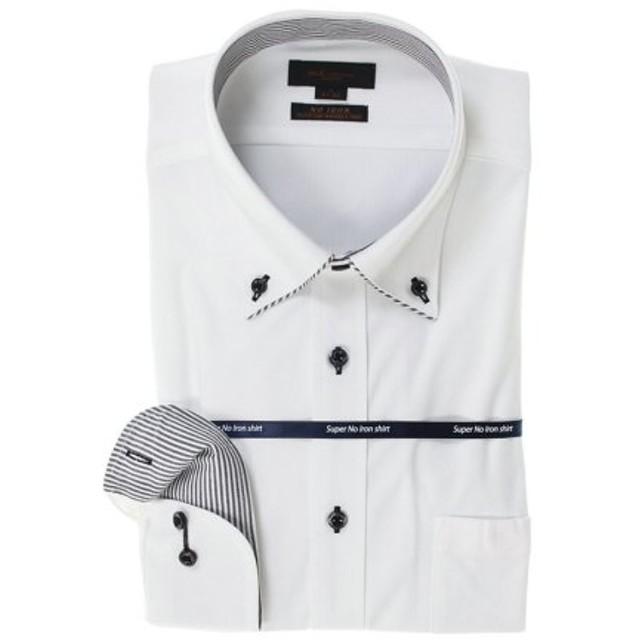 (TAKA-Q/タカキュー)ノーアイロン高機能 スリムフィットボタンダウン長袖ニットシャツ/メンズ ホワイト