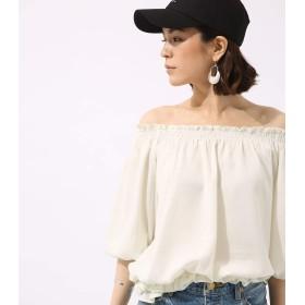 [アズールバイマウジー] tシャツ 2WAY オフショル フリルブラウス 250BSA30-659E M ホワイト レディーズ