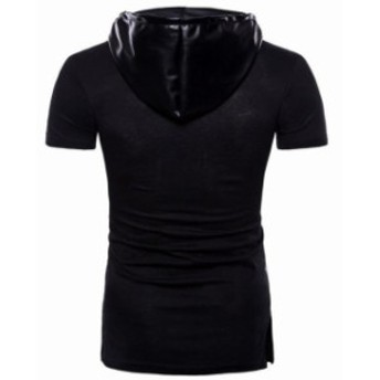 Tシャツ メンズ 半袖 トップス スタイル PU 革 カジュアル 夏 tシャツ 帽子付き 暗黒系 ブラック 個性