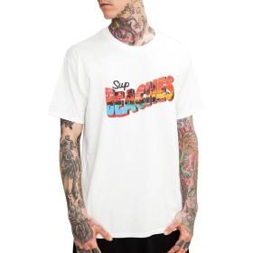 [ビヨンドユー] Tシャツ メンズ プリント 半袖Tシャツ 黒 ブラック 白 ホワイト ロゴT ロゴtシャツ byd8201s-WHT-XL