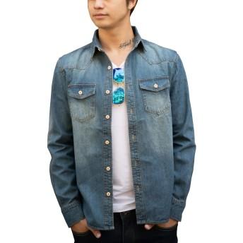 [ミックスリミテッド] デニムシャツ メンズ シャツ ウエスタン ウエスタンシャツ デニム 長袖シャツ pbs04-BLU-M