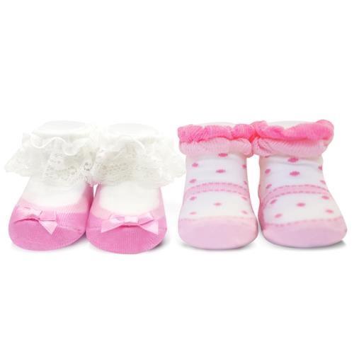 娃娃城 Baby City 短襪2入禮盒-優雅粉