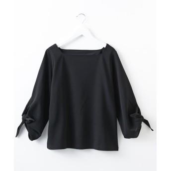【ブラウス見えシリーズ】袖口リボンスクエアネックカットソープルオーバー (Tシャツ・カットソー)(レディース)T-shirts