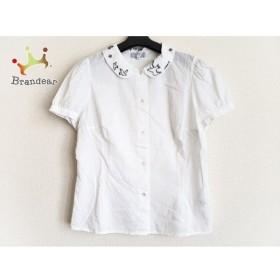 アニエスベー agnes b 半袖シャツブラウス サイズ42 L レディース 美品 白×黒 刺繍 新着 20190905
