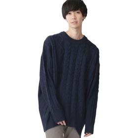 (モノマート) MONO-MART ビッグシルエット アラン編み クルーネック ケーブル ニット セーター BIG メンズ ネイビー フリーサイズ