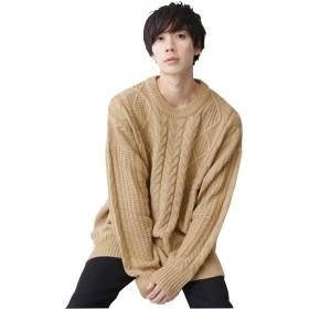 (モノマート) MONO-MART ビッグシルエット アラン編み クルーネック ケーブル ニット セーター BIG メンズ ベージュ フリーサイズ