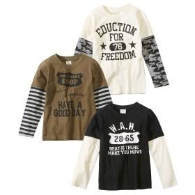 重ね着風長袖Tシャツ3枚組(男の子 子供服) (Tシャツ・カットソー)T-shirts, T恤