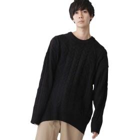 (モノマート) MONO-MART ビッグシルエット アラン編み クルーネック ケーブル ニット セーター BIG メンズ ブラック フリーサイズ