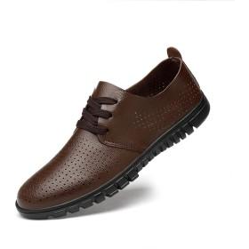 [Fisca] フィスカ レースアップシューズ メンズ モカシン 蒸れにくい 履きやすい カジュアル 紳士靴 防滑 通気 軽量 ビジネス/旅行/ドライビング/プレゼント (25.0cm, ブラウン)