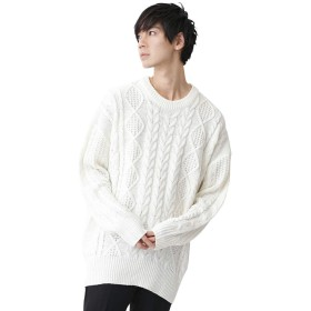 (モノマート) MONO-MART ビッグシルエット アラン編み クルーネック ケーブル ニット セーター BIG メンズ オフホワイト フリーサイズ