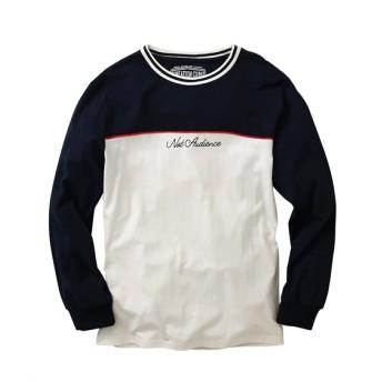 配色切替リブ付き長袖Tシャツ Tシャツ・カットソー