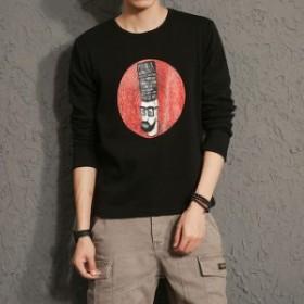 メンズTシャツ裏起毛ラウンドネックプリントトップス長袖tシャツカジュアルトップス厚手インナー トップス