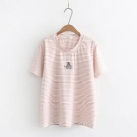 夏新作 森ガール レディース tシャツ ししゅう 刺シャツ 象柄 ボーダー柄 韓国服 半袖 ゆったり フリーサイズ