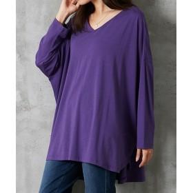 【ゆったりワンサイズ】落ち感あり ドルマン長袖Vネックトップス (Tシャツ・カットソー)(レディース)T-shirts, T恤