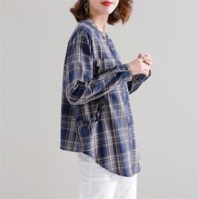 レディースシャツゆったり大きいサイズチェック柄フリルカジュアルシンプルなファッション
