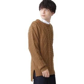 (モノマート) MONO-MART オーバーサイズ アラン編み ヘムライン BIG ケーブル ニット セーター メンズ キャメル フリーサイズ