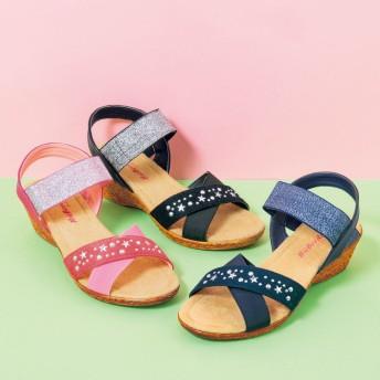 【格安-子供用靴】ガールズ軽量ストーム付ウェッジサンダル