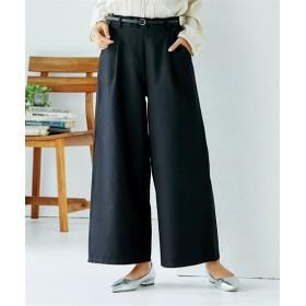 合皮ベルト付 ピーチ素材ワイドパンツ (レディースパンツ),pants