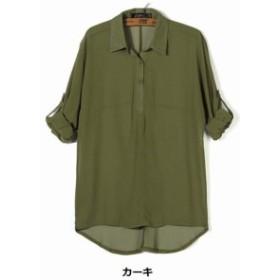 とろみシャツ とろみブラウス 長袖 レディース 透け感 ロールアップ 白シャツ シフォン