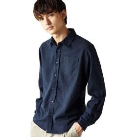 [アールディゴースト] 長袖フランネルシャツ メンズ 無地 ネイビー XL サイズ