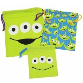トイストーリー エイリアン 巾着袋 きんちゃくポーチ 大中小 3枚セット ディズニー 小物入れ キャラクター グッズ メール便可