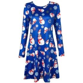 Tootess 女性ファッションクリスマスクルーネックカジュアルプリントドレスドレス Blue M