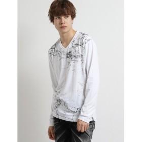 (TAKA-Q/タカキュー)天竺シワ箔グラフィック クルーネック長袖Tシャツ/メンズ ホワイト