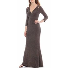 カルバンクライン レディース ワンピース トップス Glitter 3/4 Sleeve Cut Out Detail Blouson Long Gown Black/Multi