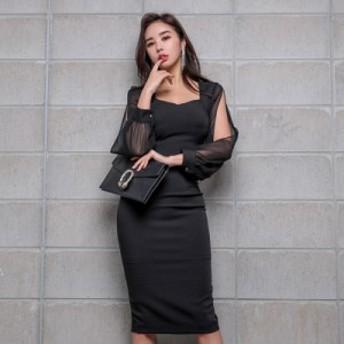 レディース ワンピ ワンピース 韓国ファッション セクシー パーティー キャバ嬢 鎖骨 シースルー袖 透け感