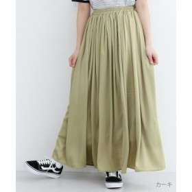 (merlot/メルロー)楊柳サテン調マキシスカート/レディース カーキ