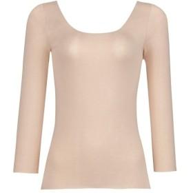 インナー 肌着 レディース 七分袖 八分袖 ワコール 「スゴ衣R 天然素材プラス+ 肌あたりやさしい」 8分袖 Uネック 「シェルベージュ」