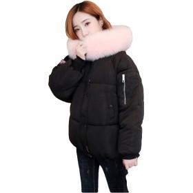 [サ二ー] ダウンジャケット レディース 中綿コート ゆったり 秋冬 大きいサイズ ショート丈 中綿アウター フード トップス 小顔効果 女性 きれいめ 厚手 暖かい フェミニン ファッション フェイクファー ブラック XL