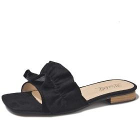 [AngelSpace] レディースサンダルファッションオープントー靴スリッパエレガント党スライド Black 35