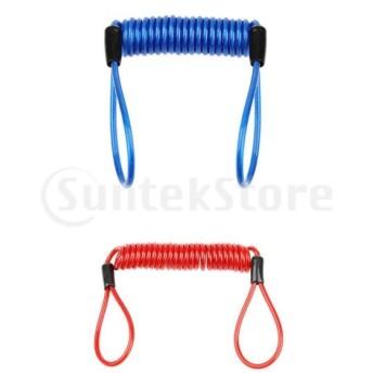 スプリングロープ リマインダケーブル PVC&合金製 多機能 丈夫 伸縮性 レッド+ブルー 各1本