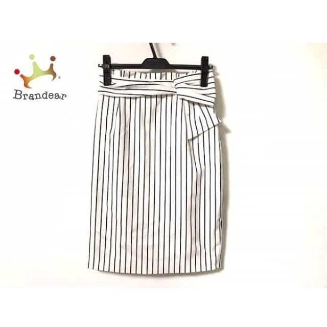 ジャスグリッティー JUSGLITTY スカート サイズ2 M レディース 美品 白×黒 リボン/ストライプ   スペシャル特価 20191214