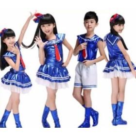 子供チアガールコスプレ衣装 チアリーダー ユニフォーム ジャッズ舞台ダンス衣装 セーラー風 男の子女の子海軍服演奏会ダンス衣装出演服