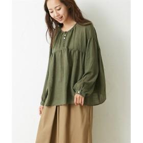 スラブガーゼギャザーブラウス (ブラウス)Blouses, Shirts, 衫, 襯衫