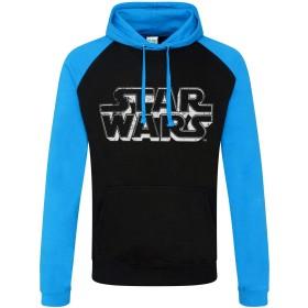 Officially Licensed Star Wars Distressed Logo Baseball Hoodie (Black-Blue), Medium