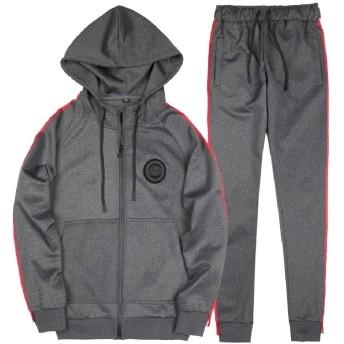 Beeatree メンズアウトドアフードプラスサイズジッパージャケットスウィートセット Dark Grey XL