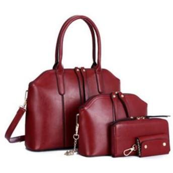 どのように-ハンドバッグ 女性用 バッグ PU バッグセット 4個の財布セット 純色 ブラック/Brown/ワイン:ワイン