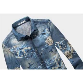デニムシャツ 長袖シャツ 花柄シャツメンズ 大きいサイズ フラワー トップス ストレッチ おしゃれ 細身
