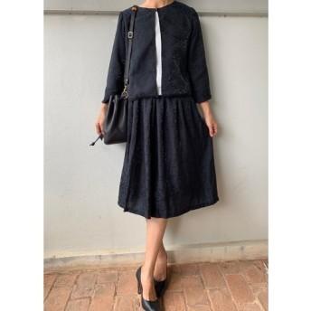 5セットのみジャガード黒 フレアギャザースカートとジャケット 入学式 フォーマル セットアップ スーツ