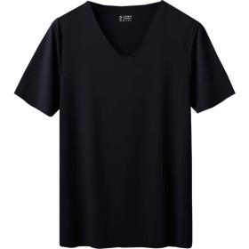 メンズ tシャツ 無地 白tシャツ vネック tシャツ 通気性 半袖 インナーシャツ 速乾 黒 夏 超薄型 おおきいサイズシャツ ブラック 3xl