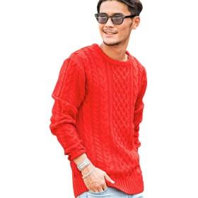 (ビッチ)VICCI メンズ セーター ニット クルーネック ケーブル編み 長袖 ストレッチ リブVIBD15-07 44(M) RED(レッド)【+】