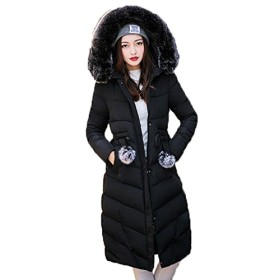 アイビエツ(AIBIETU)レディース 中綿 ロング ダウンジャケット カジュアル フーディー付き 軽量 大きいサイズ 防寒服 アウター(ブラックZ-1)