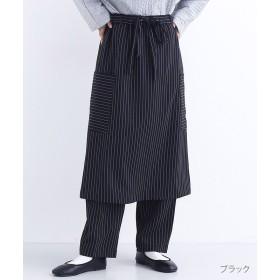 【6%OFF】 メルロー ピンストライプスカートパンツ レディース ブラック FREE 【merlot】 【タイムセール開催中】