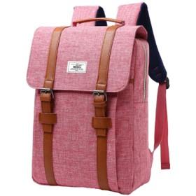 [エンジェルムーン] リュック キャンバス生地 メンズ レディース 男女兼用 B4サイズ 大きめ 薄型 バッグ ナップザック ナップサック デイバッグ デザイン リュックサック おしゃれ かっこいい 大人 オシャレ カジュアル スタイリッシュ (ピンク)