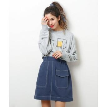 【ダブルネーム/DOUBLE NAME】 配色ステッチアシメポケット台形スカート