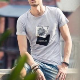 クールネック 半袖Tシャツ プリント トップス 幾何柄 Tシャツ キューブ柄 半袖Tシャツ メンズ トップス Uネック カットソー 夏男 夏服 コ